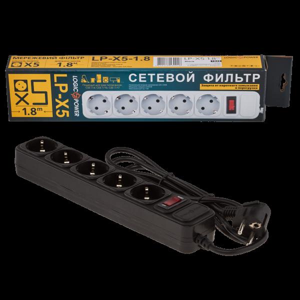 Фильтр-удлинитель сетевой LogicPower LP-X5, 5 розеток, цвет-черный, 1,8 m