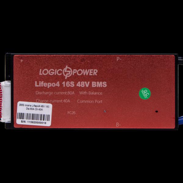 BMS плата LiFePO4 48V 16S Dis 80A Ch 40A